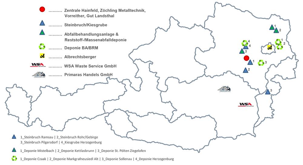 Standorte Unternehmensgruppe Zöchling