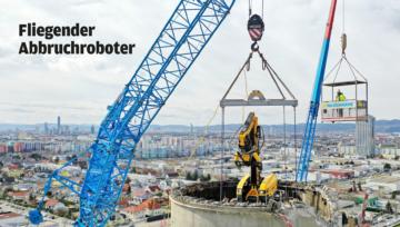 Rückbau des Rinterzelt Turms mit fliegendem Abbruchroboter