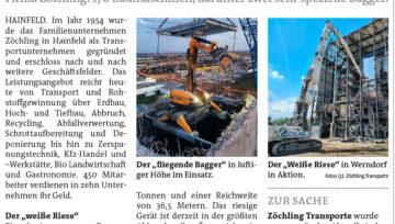 """Bericht Bezirksblätter: """"Weißer Riese"""" und """"Fliegender Bagger"""""""