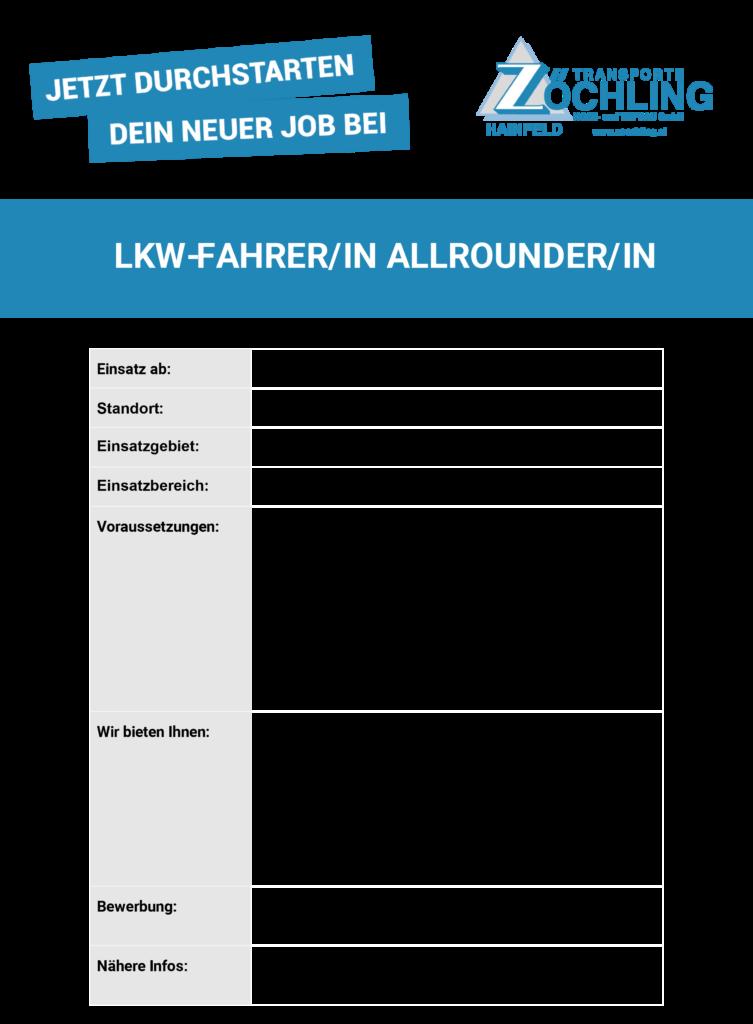 Job Lkw-FahrerIn AllrounderIn
