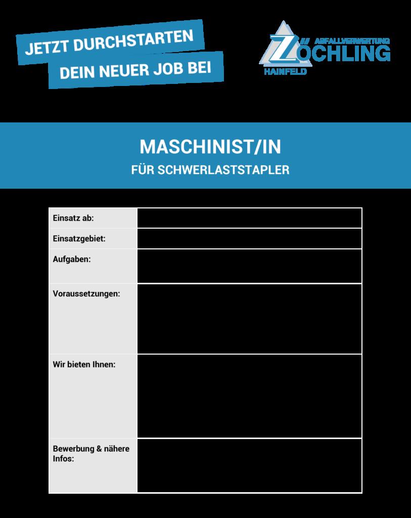 Job MaschinistIn für Schwerlaststapler