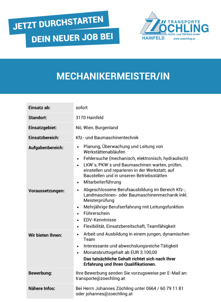 Job MechanikermeisterIn